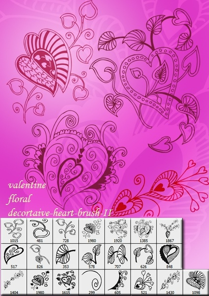 Valentine Floral  Heart Brushes