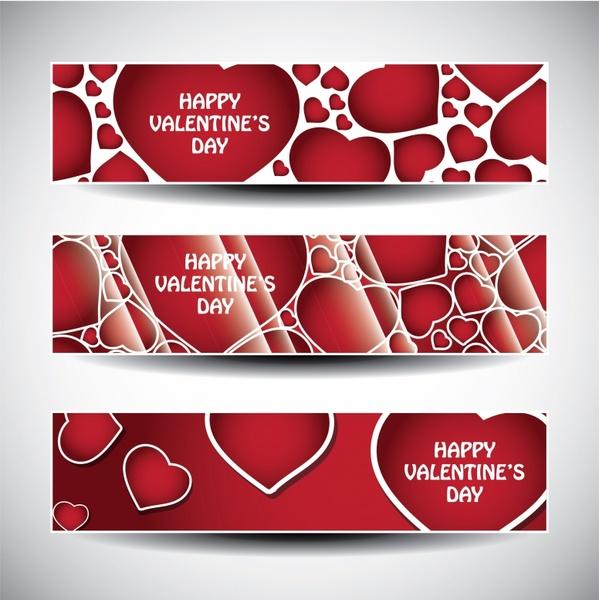 valentines banner templates modern flat red hearts decor