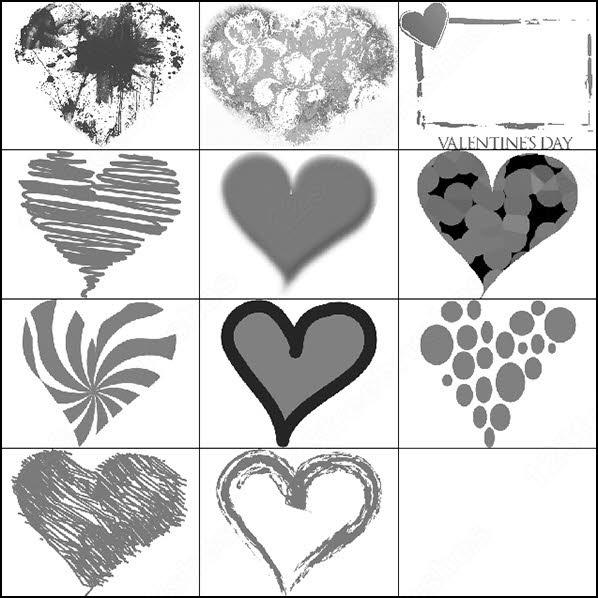 valentine heart brush