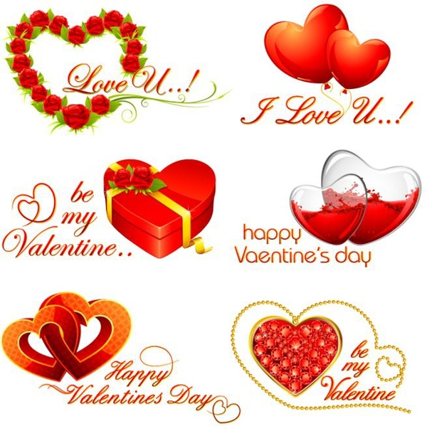 valentine design elements red heart shapes decor