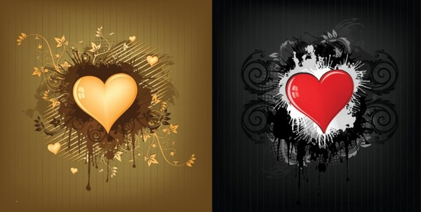love background sets heart icon golden black decor