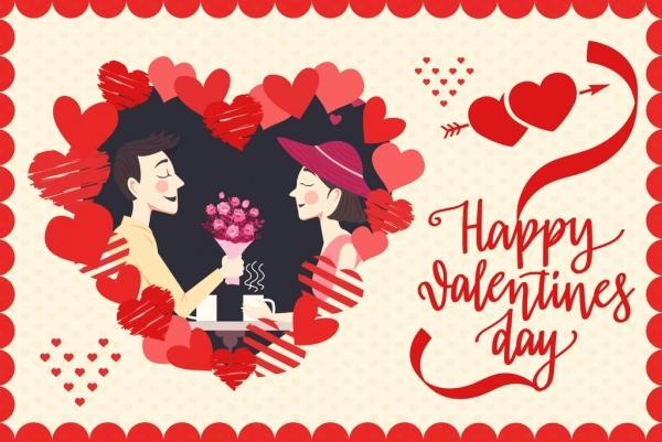 valentine poster happy couple icon red hearts decor