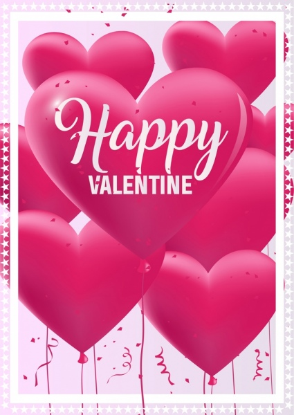 valentine poster pink heart balloons icons decoration