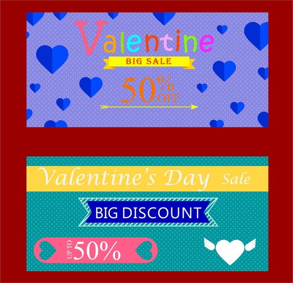valentine sales tickets sets hearts and words design