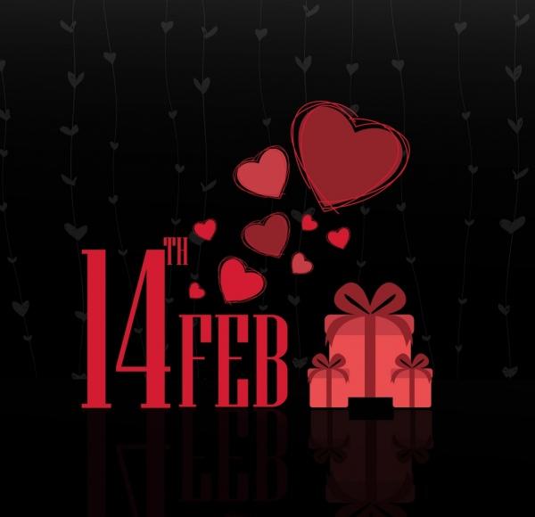 valentines background dark design hearts gift box icons