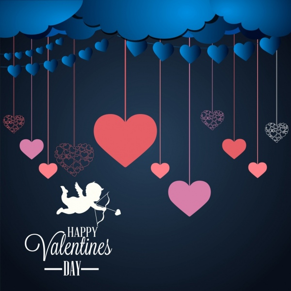 valentines background hanging hearts angle icons ornament