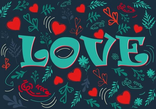 valentines background repeating hearts plants decor calligraphic design