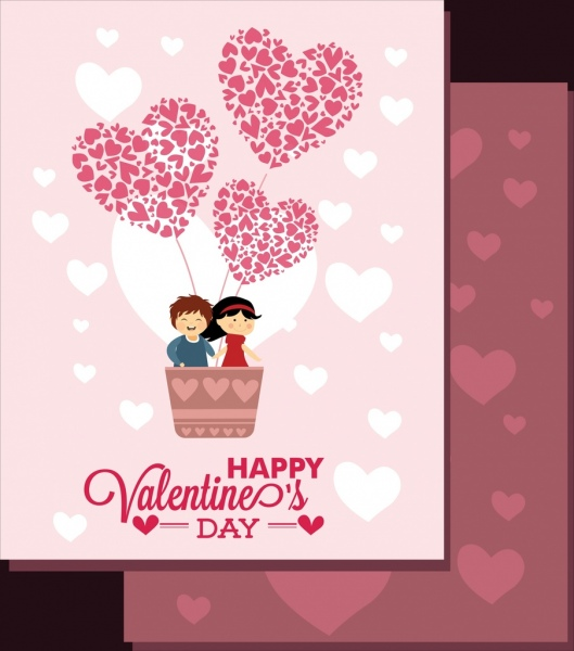 valentines banner template cute couple flying heart balloon