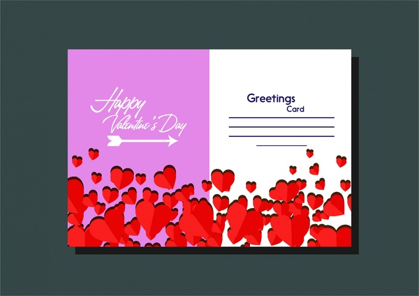 Valentines Card Template Hearts Decoration And Arrow Design Free