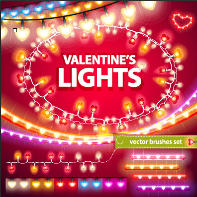 valentines day colored light borders with frame vector