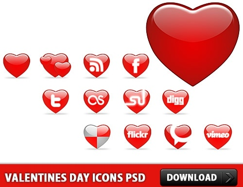 Valentines Day Icons Free PSD file