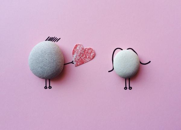 romantic cute decoration with white stones