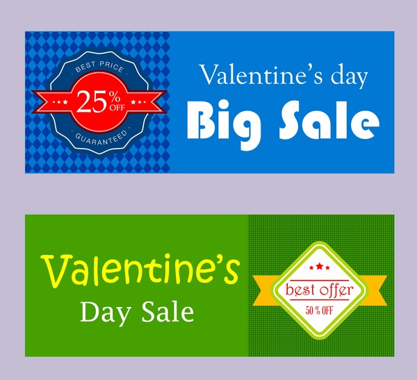 valentines sales banner sets in green and blue