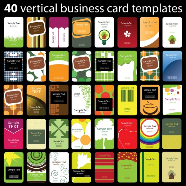 business card templates colorful vertical decor