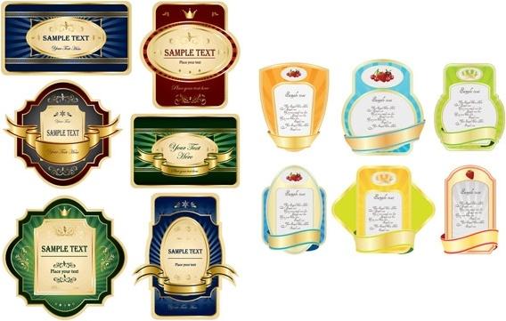 variety of european label vector