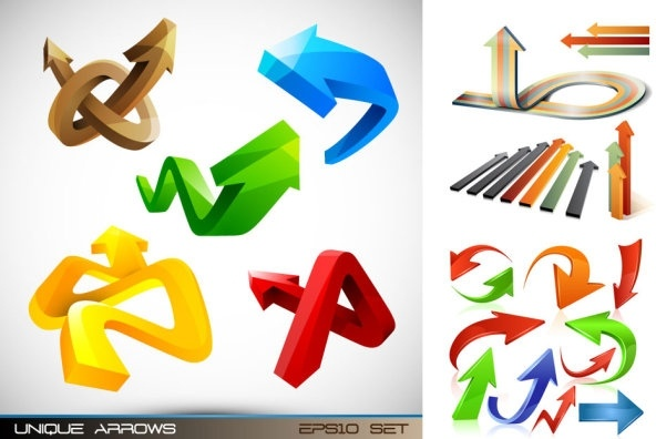 variety of threedimensional arrow vector