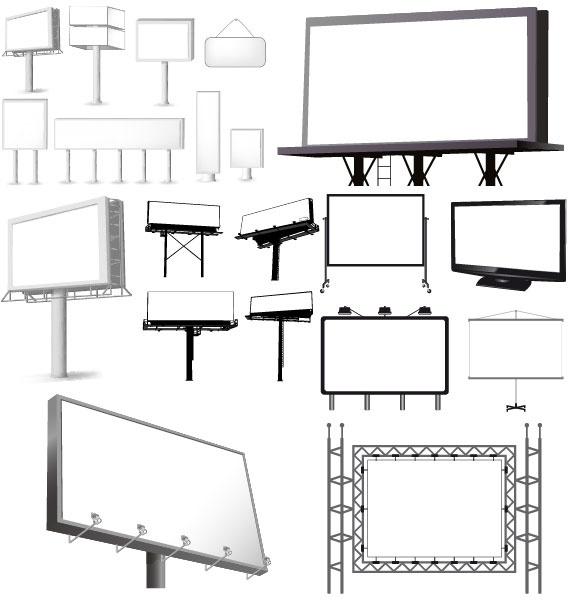 Variety Of Types Of Outdoor Billboard Template Vector Free Vector In