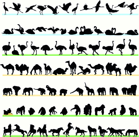 various animals silhouettes design vector set
