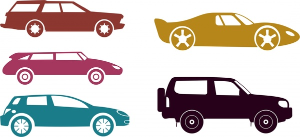 various cars design sets modern and classical styles