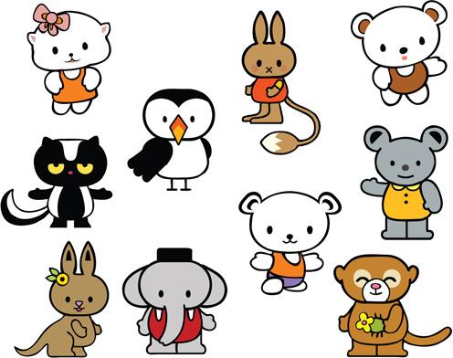 various cartoon animals vector set