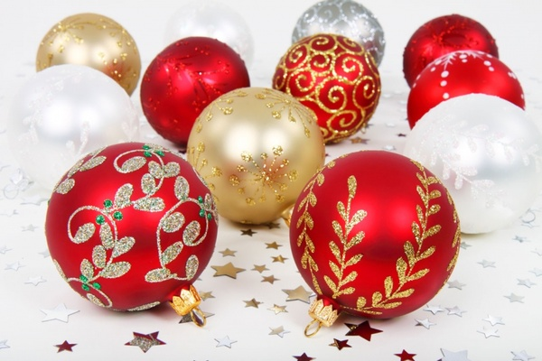 various christmas baubles