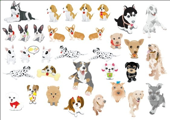 Various Cute Dog Element Vector Free Vector In Adobe Illustrator Ai