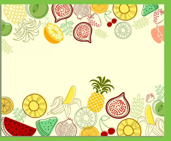 various fruits background colored hand drawn draft