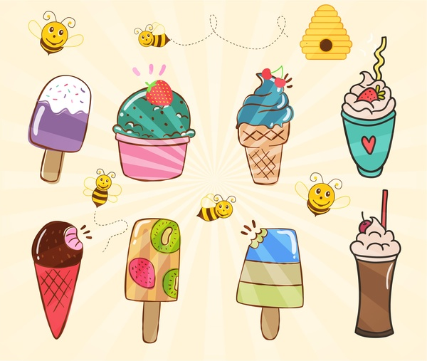 Various ice creams collection illustration with bees Free vector in Adobe  Illustrator ai ( .ai ) format, Encapsulated PostScript eps ( .eps ) format  format for free download 1.99MB