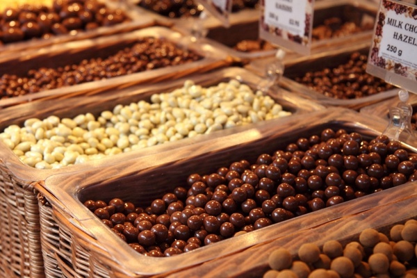 various nuts in chocolate