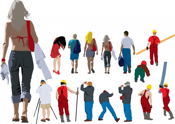 people icons back side sketch colored cartoon characters