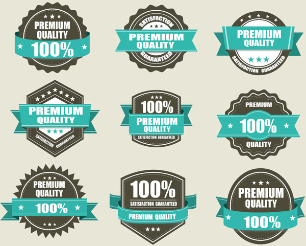 Various shaped quality certification icons sets Free vector in Adobe ...