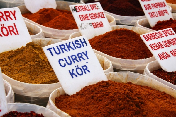 various spices on market
