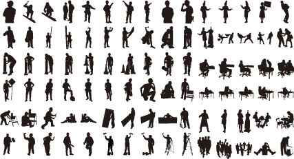 men icons collection various silhouette gesture styles