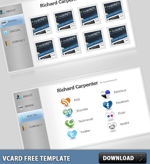 vCard Free PSD Template