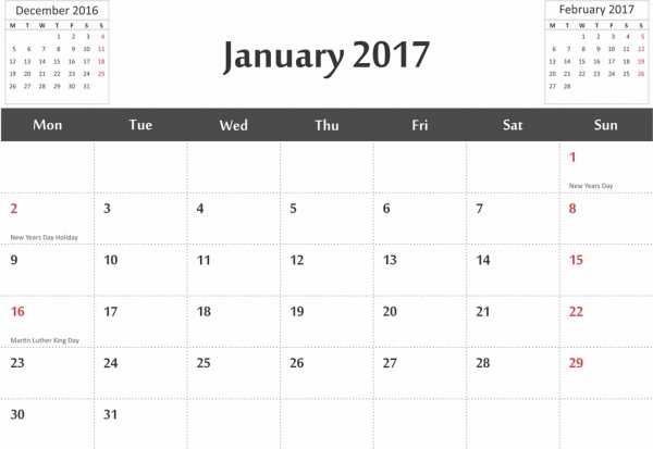 vector 2017 calendar in cdr and pdf format with previous and next