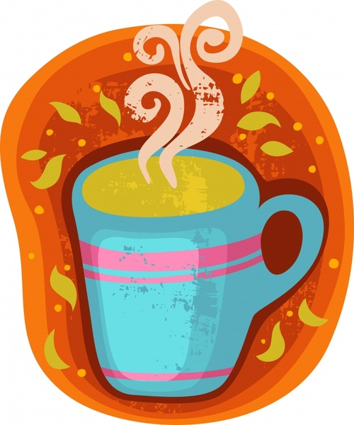 vector abstract coffee cup stickers