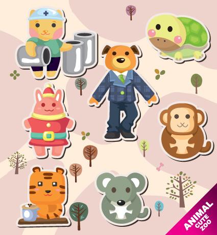 vector amusing cartoon animals design