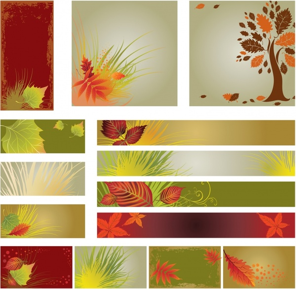 autumn background templates colorful tree leaves icons decor