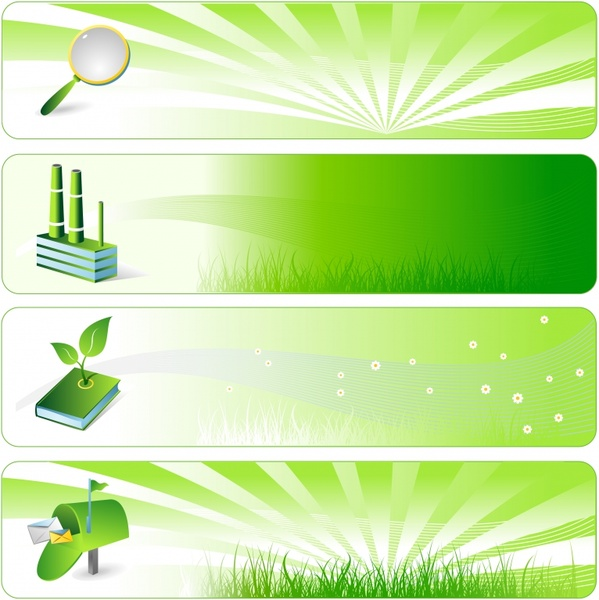 ecological background templates green object icons decor