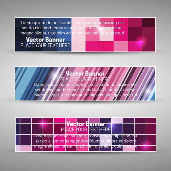 vector banner sets with abstract colorful background