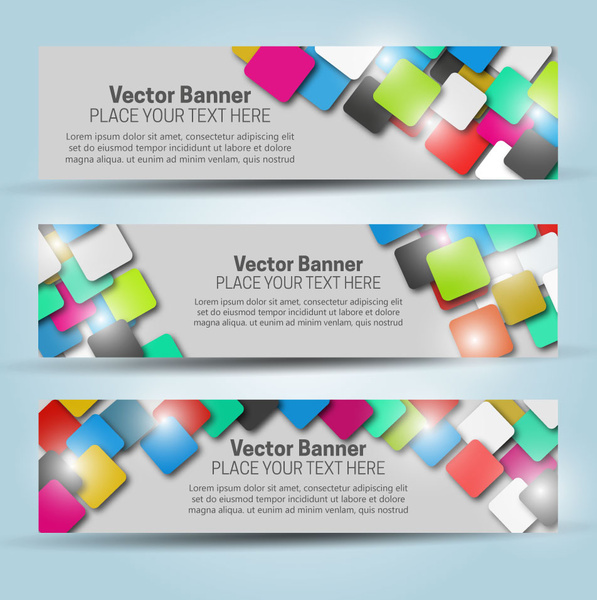 Vector banner templates with colorful squares background Free vector ...
