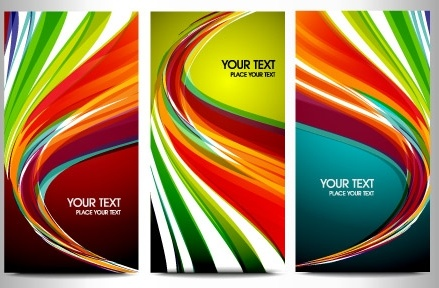 colorful abstract background sets curved lines design