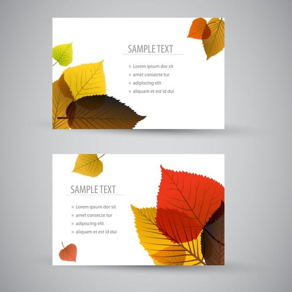 autumn card templates elegant flat leaf decor
