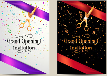 Vector big opening invitation cards set free vector in encapsulated vector big opening invitation cards set stopboris Image collections