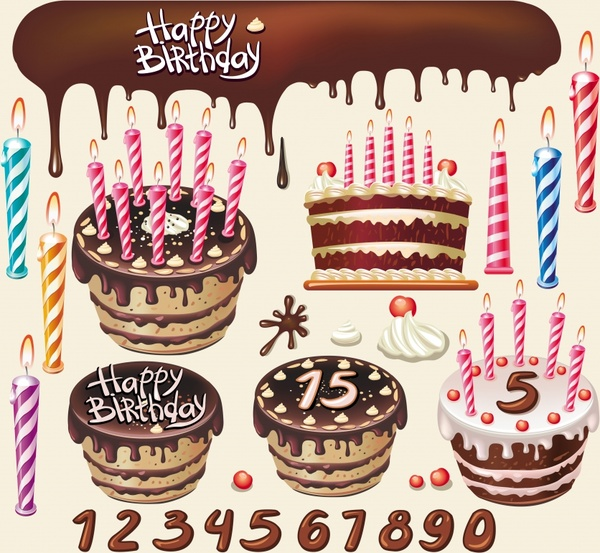 Birthday banner cream cakes candles melting chocolate icons Free