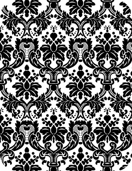 decorative pattern black white classical symmetric repeating sketch