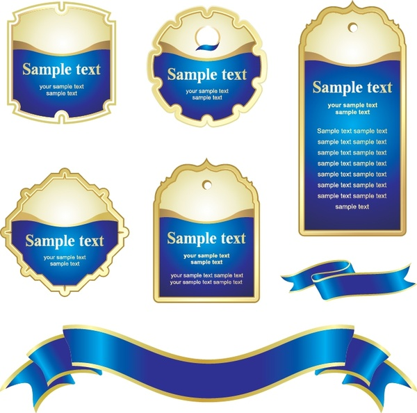 label design elements blue shaped tag ribbon templates
