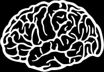 brain painting black white flat closeup design