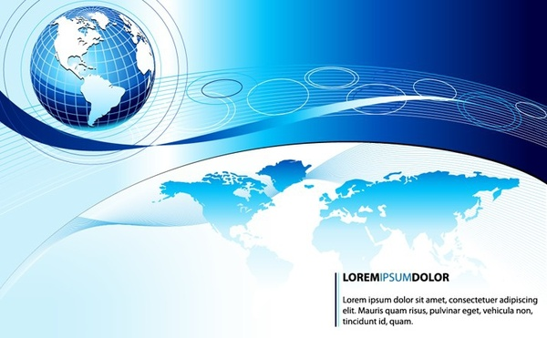 business presentation template blue globes decoration