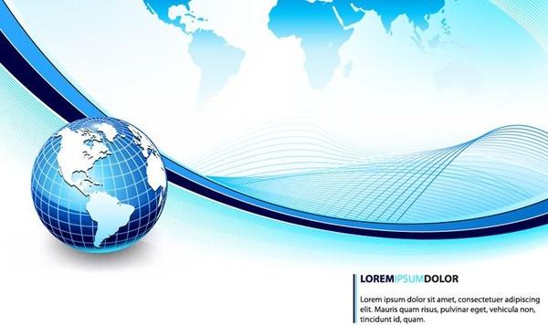 global background 3d blue curves ornament